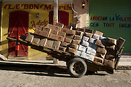 A cart of products aboard a large wheelbarrow prior to the opening of the central market. Cap Haitian, Haiti, January 26, 2008.