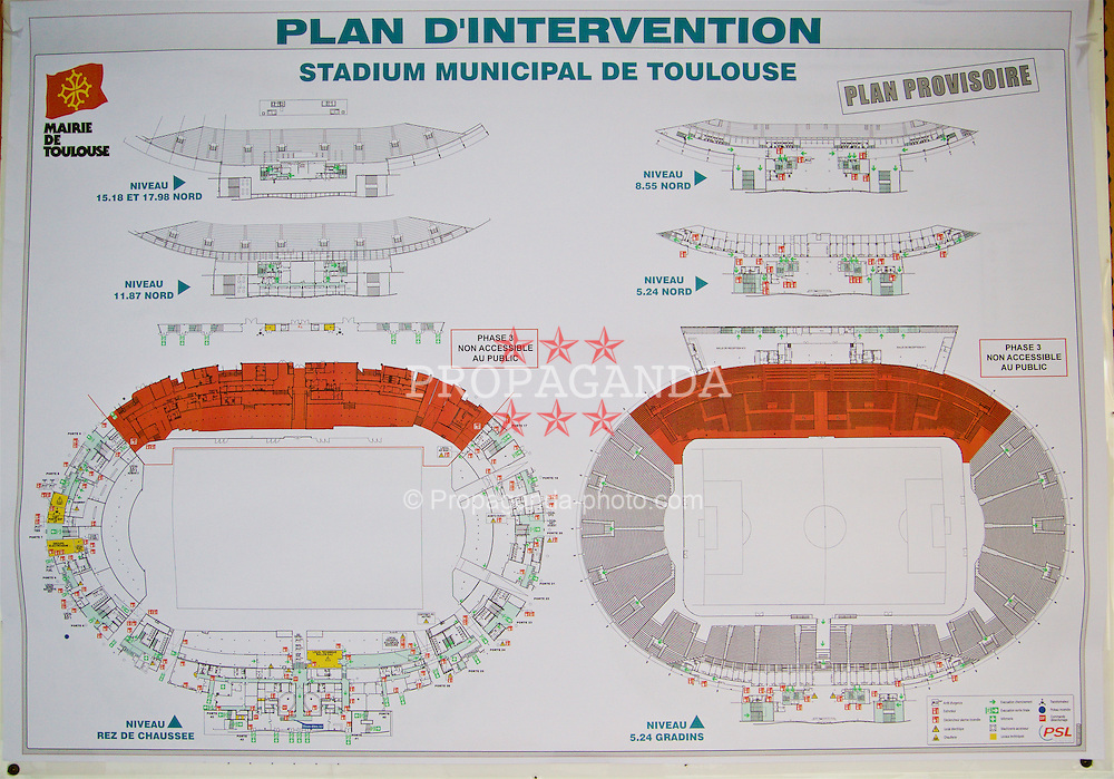 TOULOUSE, FRANCE - Tuesday, January 26, 2016: A plan of the Stadium de Toulouse on an inspection visit ahead of the UEFA Euro 2016 Tournament. (Pic by David Rawcliffe/Propaganda)