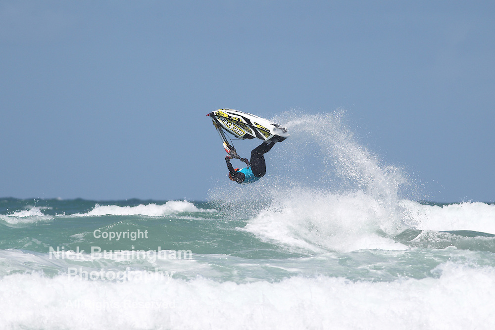 Fistral Beach, Newquay, Cornwall, UK. 6th June, 2015. Professional jestski riders compete at the IFWA World Tour Jet Ski Championship at Newquay's Fistral Bay. Day two of the Rippin H2O event saw impressive tricks from freeriders. The three day event end on June 7th 2015.