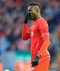 LIVERPOOL, ENGLAND - Sunday, March 8, 2015: Liverpool's Mario Balotelli rues a missed chance against Blackburn Rovers during the FA Cup 6th Round Quarter-Final match at Anfield. (Pic by David Rawcliffe/Propaganda)