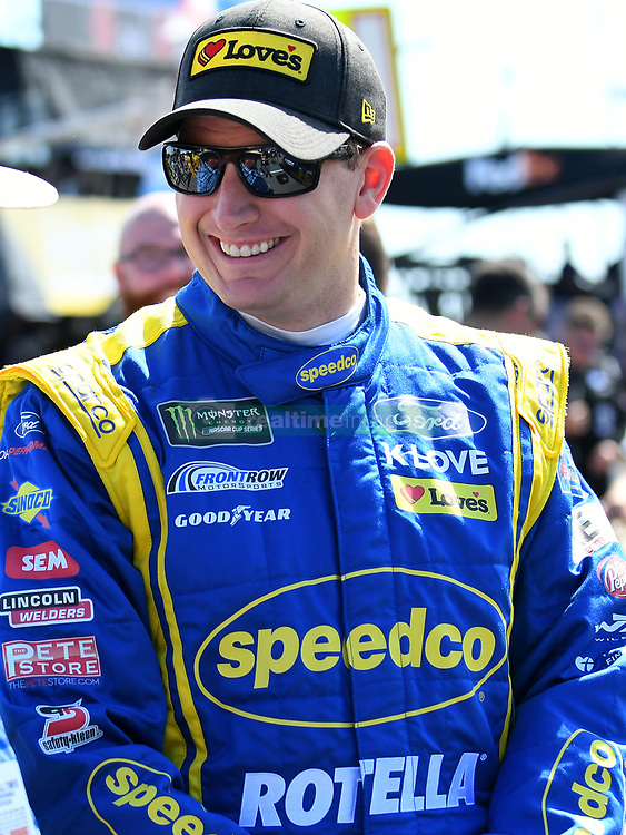 October 14, 2018 - Talladega, AL, U.S. - TALLADEGA, AL - OCTOBER 14: Michael McDowell, Front Row Motorsports, Ford Fusion Speedco/Rotella (34) shares a laugh before the 1000Bulbs.com 500 on October 14, 2018, at Talladega Superspeedway in Tallageda, AL.(Photo by Jeffrey Vest/Icon Sportswire) (Credit Image: © Jeffrey Vest/Icon SMI via ZUMA Press)