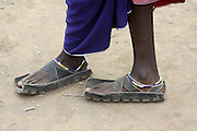 Africa, Tanzania, Maasai tribe an ethnic group of semi-nomadic people Sandals made from used tyres