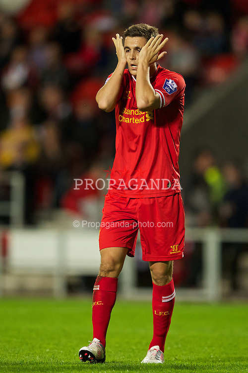 ST HELENS, ENGLAND - Monday, October 7, 2013: Liverpool's Adam Morgan looks dejected after missing a chance against Tottenham Hotspur during the Under 21 FA Premier League match at Langtree Park. (Pic by David Rawcliffe/Propaganda)