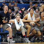 HARTFORD, CONNECTICUT- JANUARY 10: The UConn bench including starters celebrate a fourth quarter basket by Crystal Dangerfield #5 of the Connecticut Huskies from left, Tierney Lawlor #20, Katie Lou Samuelson #33, Gabby Williams #15, Napheesa Collier #24 and Kia Nurse #11 of the Connecticut Huskies in their record ninetieth win during the the UConn Huskies Vs USF Bulls, NCAA Women's Basketball game on January 10th, 2017 at the XL Center, Hartford, Connecticut. (Photo by Tim Clayton/Corbis via Getty Images)