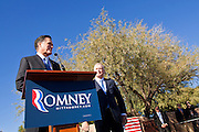 06 DECEMBER 2011 - PARADISE VALLEY, AZ: Mitt Romney speaks Tuesday at Hermosa Inn while Dan Quayle (CQ) listens to him. Former Vice President Dan Quayle endorsed Republic Presidential hopeful Mitt Romney at the Hermosa Inn in Paradise Valley Tuesday.     PHOTO BY JACK KURTZ