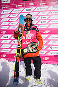 Logan Pehota, men's ski champion at the Freeride World Tour in Haines, Alaska