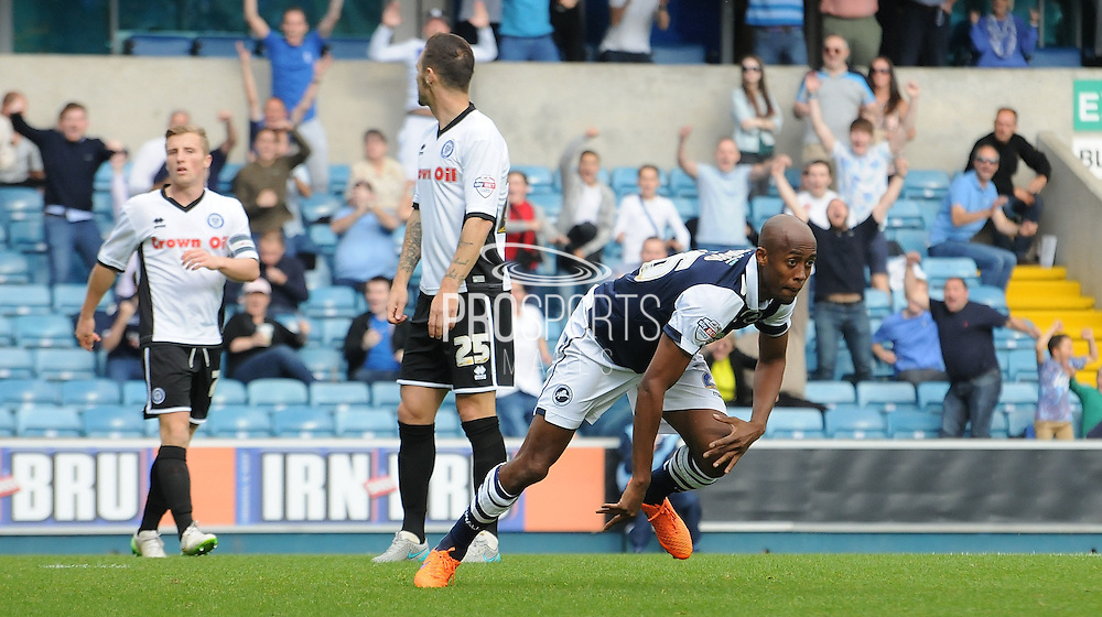 Jimmy Abdou reels away after firing Millwall into the lead during the Sky Bet League 1 match between Millwall and Rochdale at The Den, London, England on 26 September 2015. Photo by Michael Hulf.