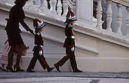 National holiday: Princess Caroline and her children at the foot of the palace steps.   Fête nationale.SAS Caroline et ses enfants au pied de l'escalier d'honneur dans la cour du palais  288286/8    L921119f  /  P0000343