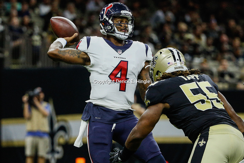 Aug 26, 2017; New Orleans, LA, USA; New Orleans Saints defensive end Darryl Tapp (55) pressures Houston Texans quarterback Deshaun Watson (4) during the second half of a preseason game at the Mercedes-Benz Superdome. The Saints defeated the Texans 13-0. Mandatory Credit: Derick E. Hingle-USA TODAY Sports