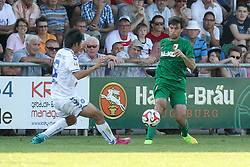 18.07.2014, Sportplatz Jettingen, Jettingen, GER, FS Vorbereitung, Karlsruher SC vs FC Augsburg, im Bild l-r: im Zweikampf, Aktion, mit Yamada #9 (Karlsruher SC) und Jan Moravek #14 (FC Augsburg) // during a Friendly Match between Karlsruher SC and FC Augsburg at the Sportplatz Jettingen in Jettingen, Germany on 2014/07/18. EXPA Pictures © 2014, PhotoCredit: EXPA/ Eibner-Pressefoto/ Kolbert<br /> <br /> *****ATTENTION - OUT of GER*****