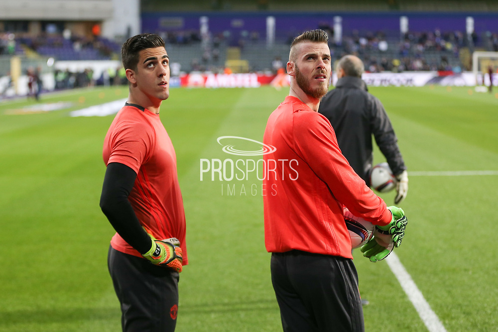 Joel Castro Pereira Goalkeeper of Manchester United and David De Gea Goalkeeper of Manchester United in warm up during the UEFA Europa League Quarter-final, Game 1 match between Anderlecht and Manchester United at Constant Vanden Stock Stadium, Anderlecht, Belgium on 13 April 2017. Photo by Phil Duncan.