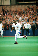 TORONTO, ONTARIO, CANADA - OCTOBER 23:  Joe Carter of the Toronto Blue Jays runs the bases after hitting a World Series winning walk off home run off of Mitch Williams during Game Six of the 1993 World Series at the Skydome on October 23,1993 in Toronto, Ontario, Canada. The Blue Jays won the game 8-6, winning the Series 4-2.  (Photo by Ron Vesely)