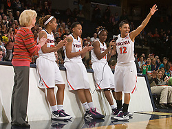 Virginia guard Britnee Millner (12) addresses fans during senior day.  The #21 ranked Virginia Cavaliers defeated the Boston College Eagles 90-70 at the John Paul Jones Arena in Charlottesville, VA on February 22, 2009.