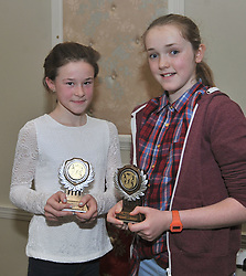 Roisin O'Brien and Maggie Chambers girls u14 national medalists at the Westport AC awards. Pic Conor McKeown
