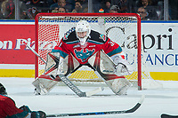KELOWNA, CANADA - OCTOBER 13:Brodan Salmond #31 of the Kelowna Rockets defends the net against the Calgary Hitmen  on October 13, 2017 at Prospera Place in Kelowna, British Columbia, Canada.  (Photo by Marissa Baecker/Shoot the Breeze)  *** Local Caption ***