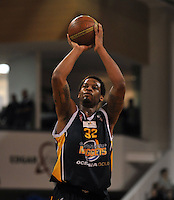 Antoine Tisby shoots a penalty, in the NBL match, between the Otago Nuggets and Hawkes Bay, Lion Foundation Arena, Edgar Centre, Dunedin, Otago, New Zealand, Friday, May 24, 2013. Credit: Joe Allison / Allison Images.