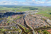 Nederland, Friesland, gemeente Dongeradeel, 28-02-2016; het landschap van de Kleistreek met Dokkum, gezien  naar de Waddenzee.<br /> Dokkum, small town in the very North of Frielsland.<br />  <br /> luchtfoto (toeslag op standard tarieven);<br /> aerial photo (additional fee required);<br /> copyright foto/photo Siebe Swart