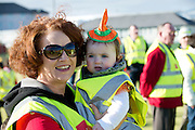 Entitled 'Hi- Five 4 Hi Vis'  A Guinness World Record for the greatest number of people wearing high visibility vests in any one place took  place in Oranmore town centre at the all weather pitch The event was supported by the Garda Siochana and the Road Safety Authority..At the event were hundreds of highly visible Kathy and Tara Dillon from Athenry. Picture :Andrew Downes.