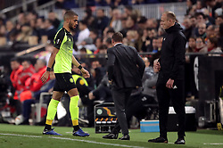 Celtic's Jeremy Toljan walks off the pitch after being sent off