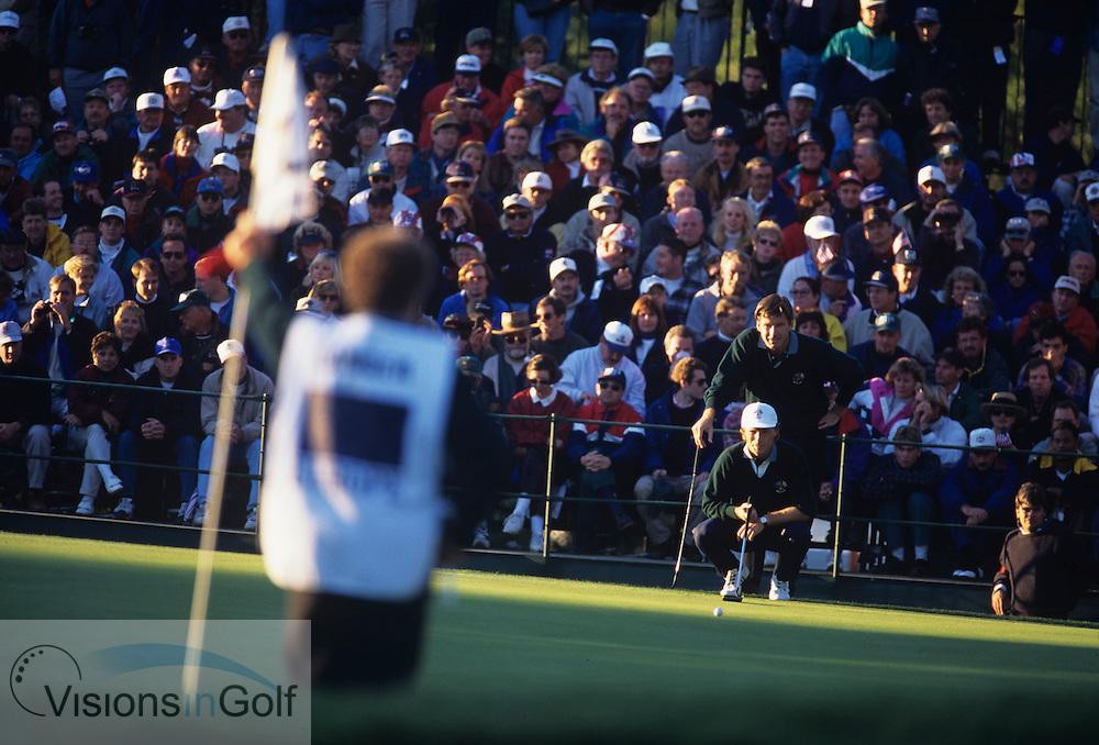 Nick Faldo Bernhard Langer<br /> Ryder Cup 1995<br /> Picture Credit:  Mark Newcombe / www.visionsingolf.com