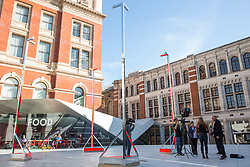 London, UK. 13 September, 2019. Studio MICAT, There Project and Proud Studio's Non-Pavilion installation at the Victoria & Albert museum for the London Design Festival creates a space in its most minimal sense, inviting visitors to engage with the idea of 'less' as enrichment rather than loss and serving as a reminder of our urgent need to produce less. Using AR technology, the digital pavilions are intended to ask pertinent questions for our times.