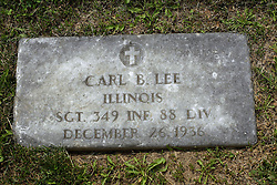 31 August 2017:   Veterans graves in Park Hill Cemetery in eastern McLean County.<br /> <br /> Carl B Lee  Illinois Sergeant 349 INF 88 DIV December 26 1936