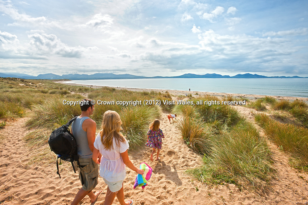 Family walking through sand dunes towards Newborough Beach <br /> Llanddwyn island<br /> Isle of Anglesey<br /> North<br /> Towns and Villages