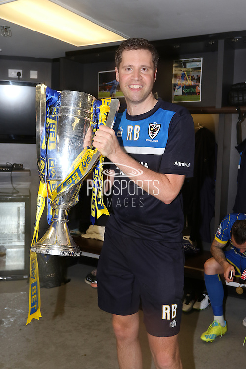 Kidman Robin Bedford celebrates as AFC Wimbledon win promotion to league 1after the Sky Bet League 2 play off final match between AFC Wimbledon and Plymouth Argyle at Wembley Stadium, London, England on 30 May 2016. Photo by Stuart Butcher.