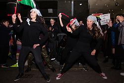 London, UK. 21st November, 2018. Pro-Palestinian LGBT activists and supporters protest outside the Heaven nightclub against an appearance there by Israeli Eurovision winner Netta Barzilai, who they say has been acting as a cultural ambassador for the Israeli state, as well as against Israel's hosting of the next Eurovision song contest and its 'pinkwashing' of its human rights record.