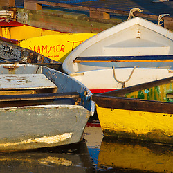 Skiffs at the dock in Pamet Harbor in Truro, Massachusetts. Cape Cod.