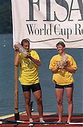 FISA World Cup 1990's, at Lucerne International Regatta, Lake Rotsee, Lucerne SWITZERLAND and Henley Royal Regatta..left Juri JAANSON and DEN W1X, XXXX HANSON.FISA World cup events Lucerne and HRR Pictures from the first World Cup events, Men's and Women's singles 1990/91 FISA World Cup Lucerne and