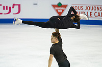 KELOWNA, BC - OCTOBER 24:  Chinese figure skaters Feiyao Tang and Yongchao Yang warm up on the ice during pairs practice of Skate Canada International at Prospera Place on October 24, 2019 in Kelowna, Canada. (Photo by Marissa Baecker/Shoot the Breeze)