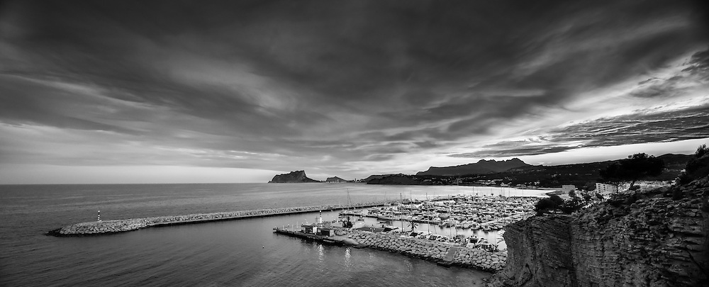 Sunset over the marina in Moraira on the Costa Blanca in Spain