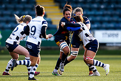 Sara Moreira of Worcester Warriors Women is tackled - Mandatory by-line: Robbie Stephenson/JMP - 01/12/2019 - RUGBY - Sixways Stadium - Worcester, England - Worcester Warriors Women v Bristol Bears Women - Tyrrells Premier 15s