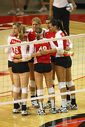 22 September 2012:  Illinois State Redbirds  during an NCAA womens volleyball match between the Bradley Braves and the Illinois State Redbirds at Redbird Arena in Normal IL