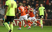 Walsall striker, Milan Lalkovic scores during the Capital One Cup match between Walsall and Brighton and Hove Albion at the Banks's Stadium, Walsall, England on 25 August 2015.
