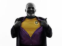 One Caucasian Senior Brazilian Supporter Fan Man Silhouette White Background
