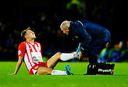 Accrington Stanley's Sean McConville being treated for an injury during the The FA Cup match between Portsmouth and Accrington Stanley at Fratton Park, Portsmouth, England on 5 December 2015. Photo by Graham Hunt.