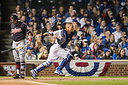 CHICAGO, IL - OCTOBER 28, 2016: Willson Contreras #40 of the Chicago Cubs fields during Game 3 of the 2016 World Series against the Cleveland Indians at Wrigley Field on October 28, 2016 in Chicago, Illinois. (Photo by Jean Fruth)