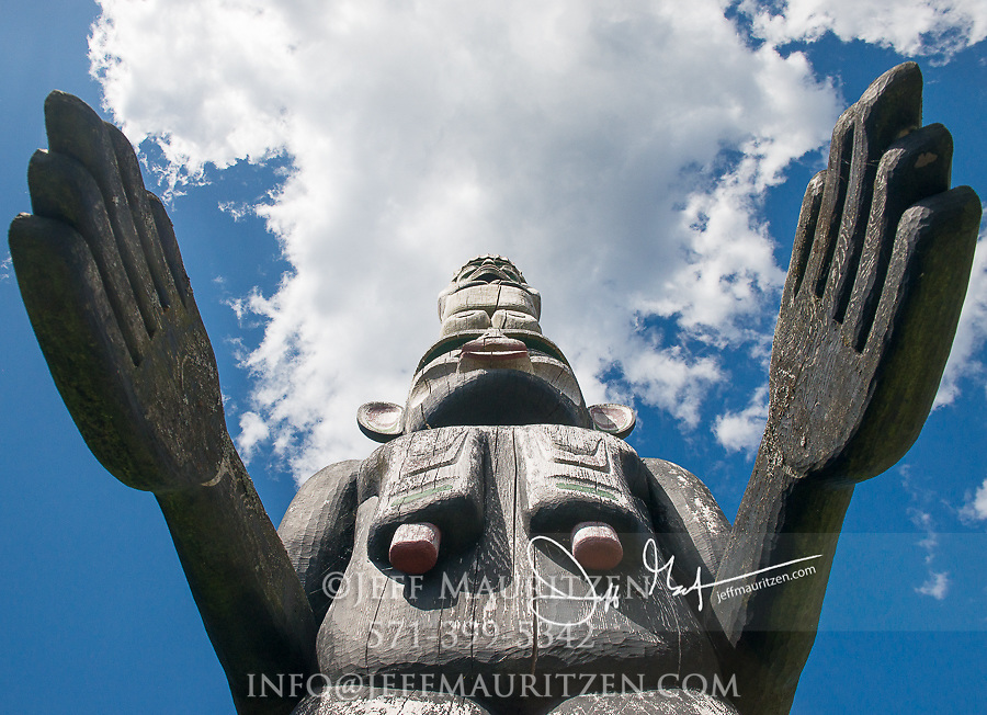 Totem pole outside of U'mista Cultural Centre in Alert Bay, British Columbia.