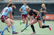 Amsterdam's Chrlotte Vega challenges with Hamburg's Celine Wilde during the semi final of the EHCC 2017 at Den Bosch HC, The Netherlands, 3rd June 2017