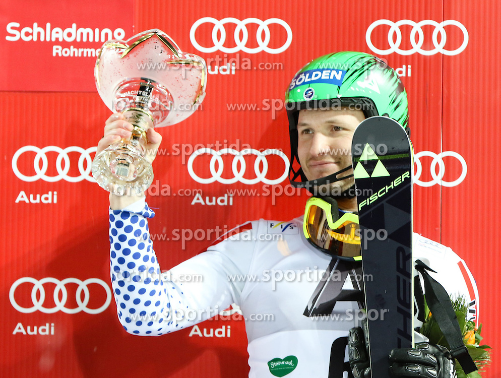 27.01.2015, Planai, Schladming, AUT, FIS Weltcup Ski Alpin, Nightrace, Slalom, Herren, Siegerehrung, im Bild Alexander Khoroshilov (RUS) // Alexander Khoroshilov of Russia celebrates on podium Schladming FIS Ski Alpine World Cup at the Planai course in Schladming, Austria on 2015/01/27. EXPA Pictures © 2015, PhotoCredit: EXPA/ Martin Huber