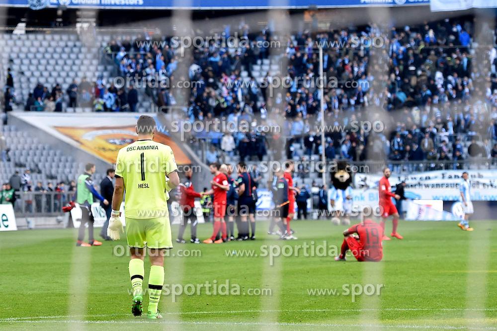 20.03.2016, Allianz Arena, Muenchen, GER, 2. FBL, TSV 1860 Muenchen vs DSC Arminia Bielefeld, 27. Runde, im Bild Wolfgang Hesl, Torwart (Arminia Bielefeld), Schlussszene // during the 2nd German Bundesliga 27th round match between TSV 1860 Muenchen vs DSC Arminia Bielefeld at the Allianz Arena in Muenchen, Germany on 2016/03/20. EXPA Pictures &copy; 2016, PhotoCredit: EXPA/ Eibner-Pressefoto/ Buthmann<br /> <br /> *****ATTENTION - OUT of GER*****