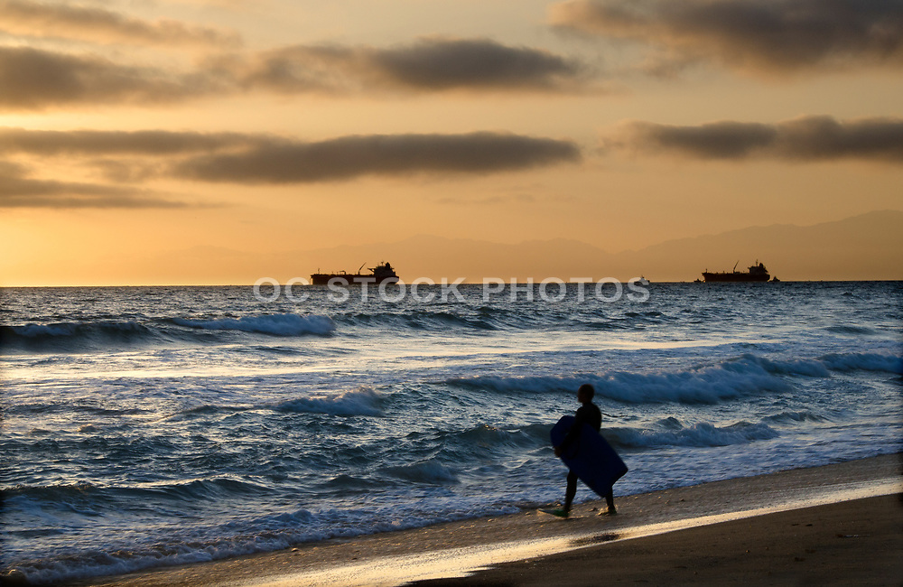 Sunset Boogie Board Session on Manhattan Beach