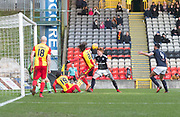 17th February 2018, Firhill Stadium, Glasgow, Scotland; Scottish Premier League Football, Partick Thistle versus Dundee; Simon Murray of Dundee heads home for 2-1