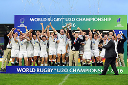 Harry Mallinder of England U20 lifts the World Rugby U20 Championship trophy in celebration - Mandatory byline: Patrick Khachfe/JMP - 07966 386802 - 25/06/2016 - RUGBY UNION - AJ Bell Stadium - Manchester, England - England U20 v Ireland U20 - World Rugby U20 Championship Final 2016.
