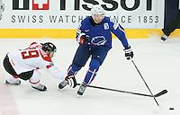 Raphael Herburger / Teddy Da Costa - 05.05.2015 - Autriche / France  - Championnats du Monde de Hockey sur Glace 2015 -Prague<br />Photo : Xavier Laine / Icon Sport