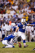 JACKSON, MS - AUGUST 26:  Kicker Shane Andrus of the Indianapolis Colts kicks an extra point during a game against the New Orleans Saints on August 26, 2006 at Veterans Memorial Stadium in Jackson, Mississippi.  The Colts won 27 to 14.  (Photo by Wesley Hitt/Getty Images) *** Local Caption *** Shane Andrus