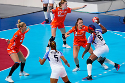 03-12-2019 JAP: Netherlands - Cuba, Kumamoto<br /> Third match 24th IHF Women's Handball World Championship, Netherlands win the third match against Cuba with 51- 23. / Jessy Kramer #5 of Netherlands, Larissa Nüsser #9 of Netherlands, Bo van Wetering #12 of Netherlands, Lisandra Lusson Miranda #9 of Cuba