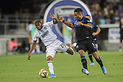Philadelphia Union defender Ray Gaddis (28) battles San Jose Earthquakes forward Danny Hoesen (9) for the ball during an MLS soccer match won by Philadelphia 2-1, Wednesday, Sept. 25, 2019, in San Jose, Calif. (Peter Klein/Image of Sport)